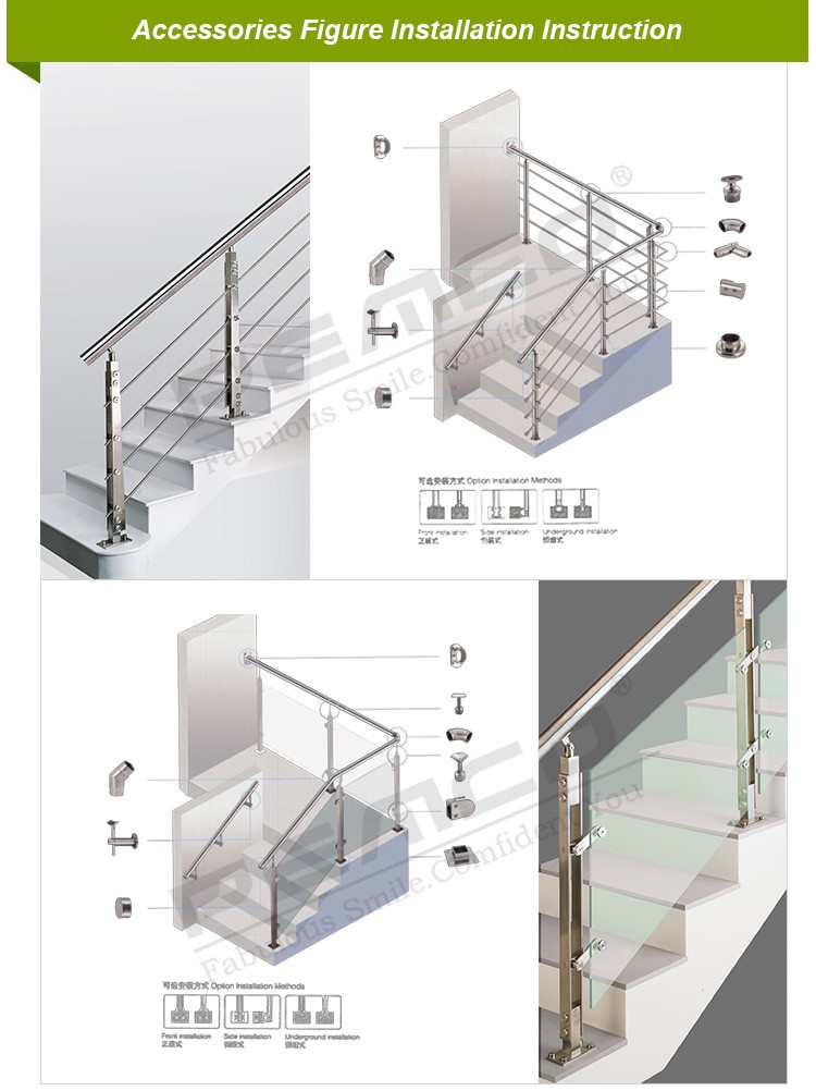 Wholesale Wall Mounted SS Stair Railing Pipe Holder/Support Stainless Steel  Handrail Accessories For Stair