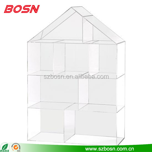 High Quality House Shape Clear Acrylic Bookshelf Lucite Perspex Bookcase Furniture