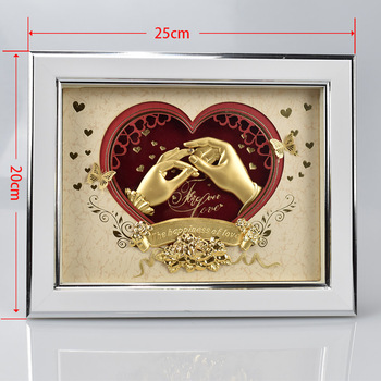 Table Decoration 3d 24k Pure Gold Leaf Picture Frame For Wedding