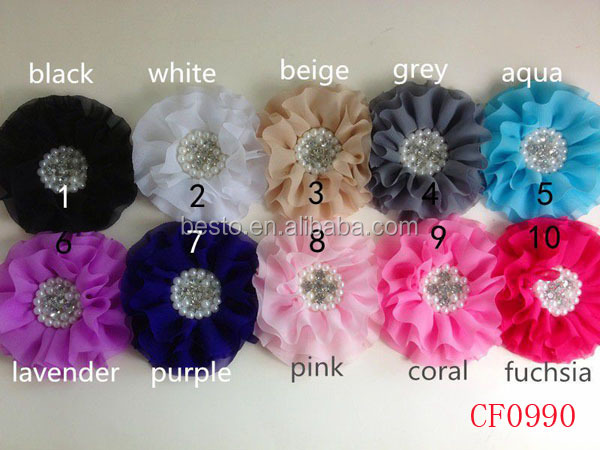 elastic rhinestone peral center chiffon fabric flower baby hair accessories headbands