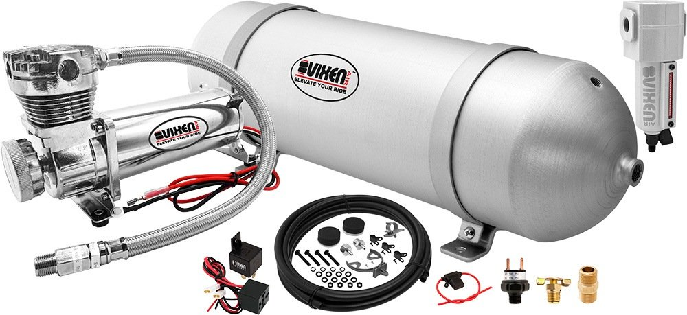 Vixen Air 3 Gallon (12 Liter) Aluminum Tank with 200 PSI Chrome Compressor and Water Trap Onboard System/Kit for Suspension/Train Horn 12V VXO4830CF