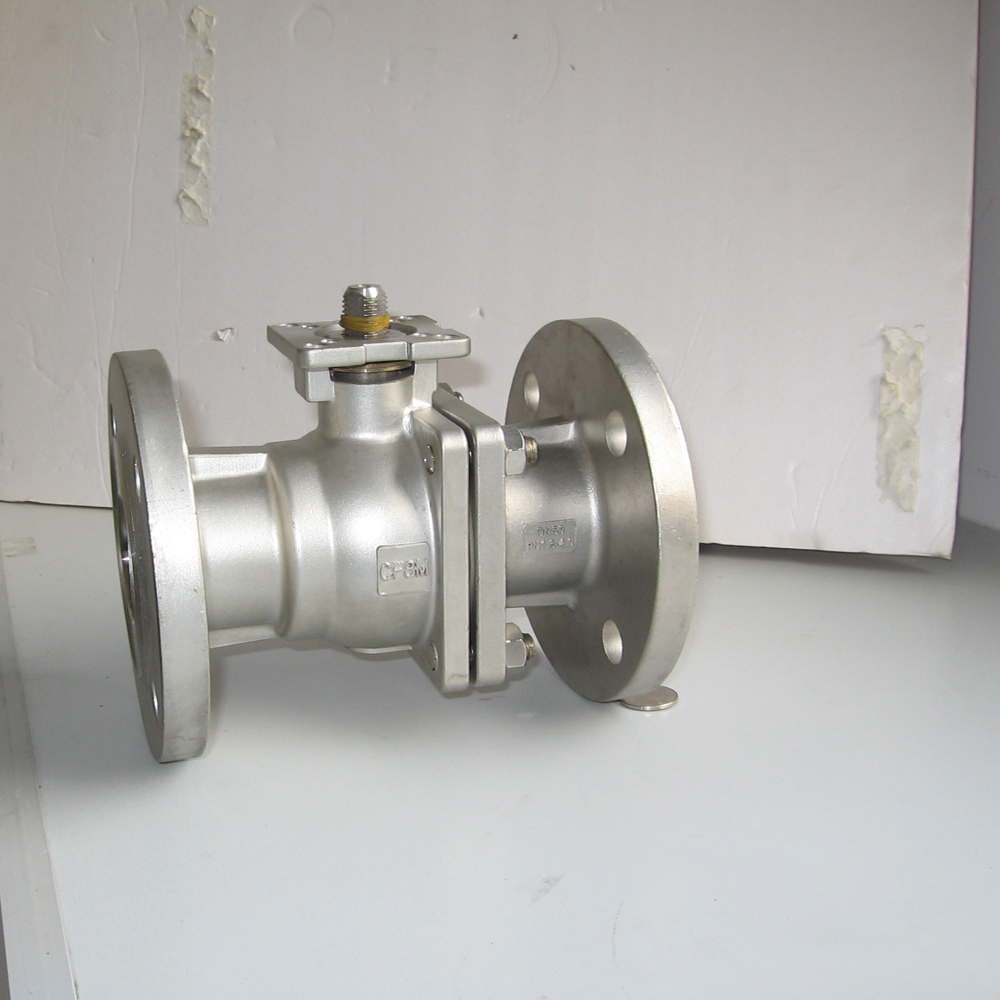 stainless steel 2 pieces ball valve with hand lever