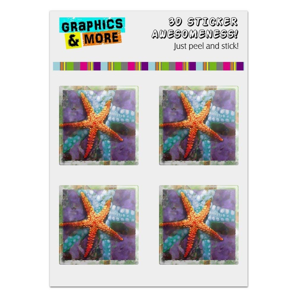 "Graphics and More Starfish Watercolor Tropical Ocean Beach Computer Case Modding Badge Emblem Resin-Topped 1"" Stickers - Set of 4"