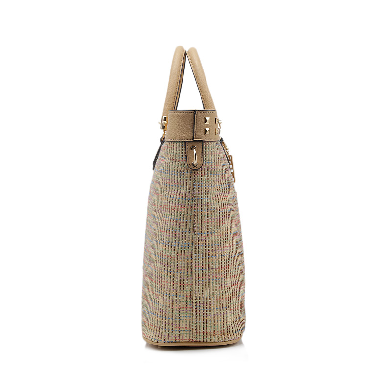 f0365dd35e philippines stud rivet summer beach bag short leather handle straw bags