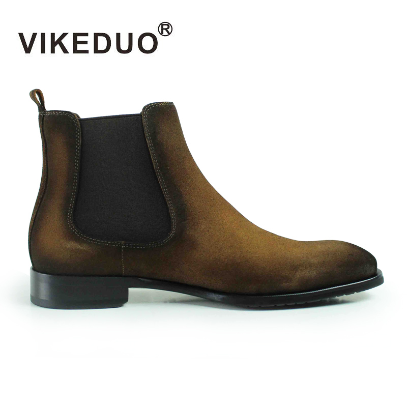 2018 New Design Fashion Brown Wholesale Handmade Slip-On Chelsea Boots Men Suede