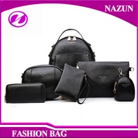 2017 NEW Design Fashion 6 in 1 Backpacks Purses Leather Set handbags for lady