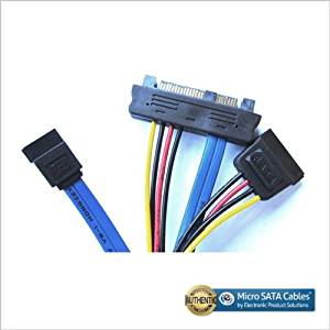 SAS 29-pin Male to SATA 7-pin and 15-pin SATA Power Cable - 12""