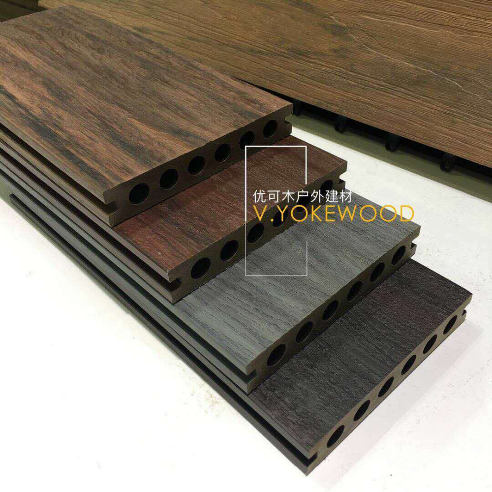 Outdoor Artificial Real Engineered Wood Flooring Oak Multi Colored Co Extrusion Wood Plastic Composite Decking Flooring