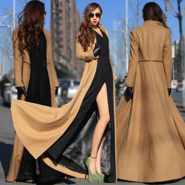2015 European Style Winter Outwear Woolen Coat Women Floor