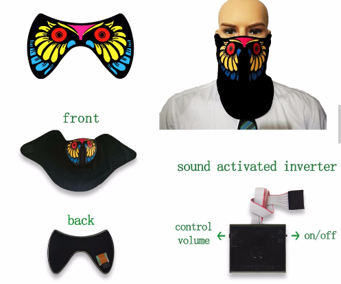 Cartoon Movies Designs sound activated EL Flashing Mask ,EL mask