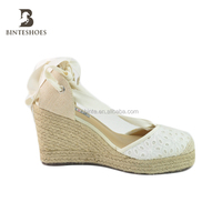 espadrilles shoes2019 latest fashion design lace up canvas wedge espadrille lady shoe