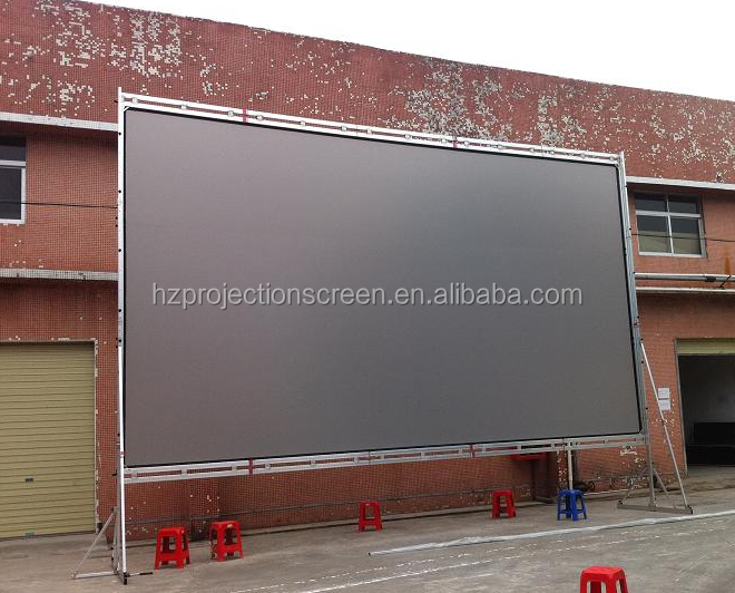 16:9 6*8ft Outdoor projection screen front + rear + aluminum frames + flight case fast fold projection screen