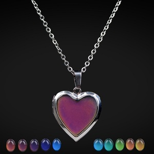 Silver Jewelry Cheap Heart Shape Locket Mood Change Pendant Necklace For Kids