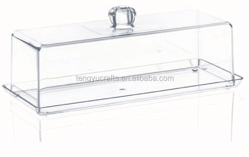 Custom lucid stationary bread box lid acrylic cake cover with hand shank