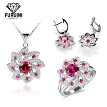 2019 Women 패션 Beautiful Crystal Ruby Diamond 웨딩 자 Jewelry Set