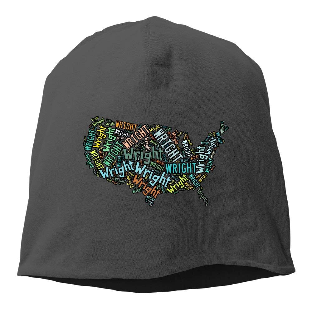 Unisex Surnames In North America - Wright Form United States Map Knit Beanies Hat, Hip-Hop Skull Cap, Slouchy Beanie, Watch Cap, Baggy Hats, Headband For Women & Men