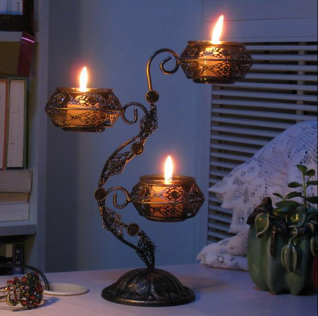 Home Decor Candle Holders And Accessories: Classical Iron Art Candlestick Decorative Metal Candle