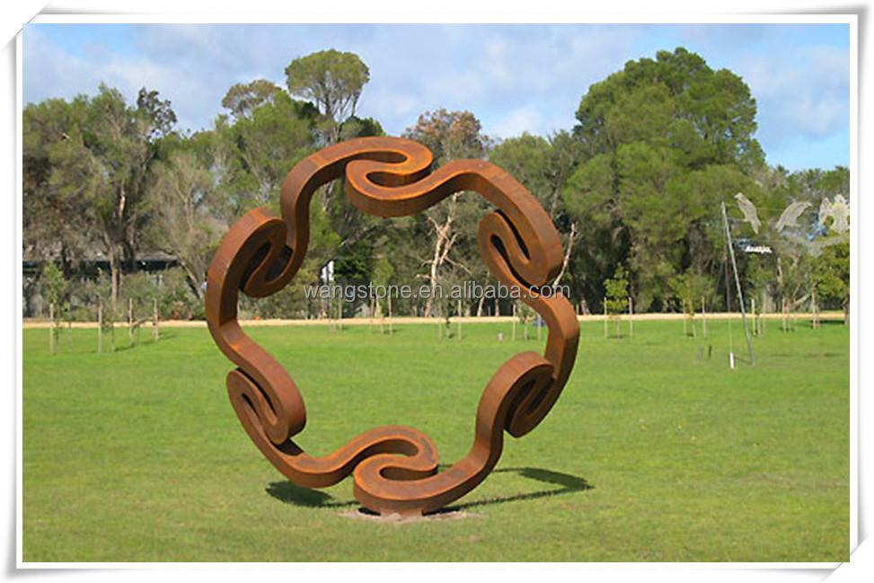 Abstraite moderne corten sculpture en acier pour jardin d coration artisanat en m tal id de - Sculpture moderne pour jardin ...