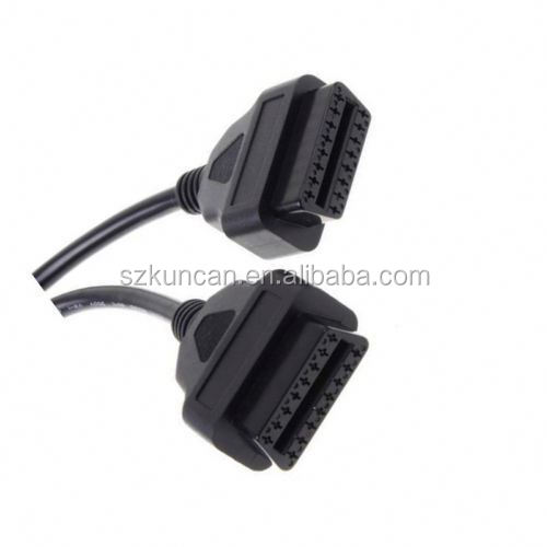 2 in 1 OBDII Cable Right Angle Female to Male Auto Cable