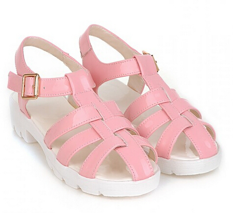 6588e76955af Get Quotations · 2015 Summer Gladiator Style Flat Heel Sandals Plus Size 40  - 42 Female Beach Jelly Shoes