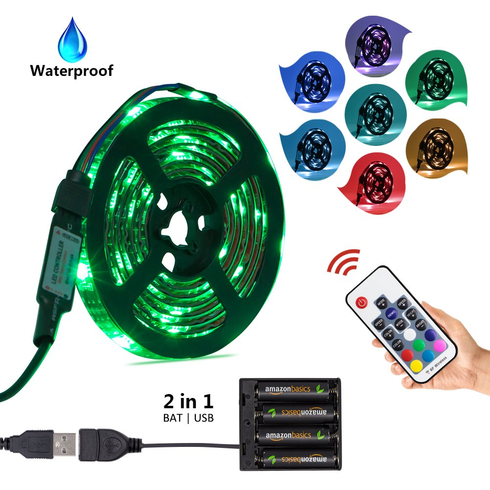 Led Strip Light Battery Powered USB Operated 2 in 1, XYOP Waterproof RGB Led Strip Lights, Flexible Led Strip Rope Lights with RF Controller, Multi-colors Led Lights for Background Lighting - 2M/6.6FT
