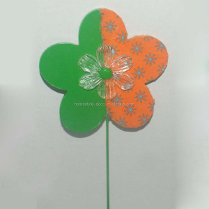 Easter ornament wooden flower pick decoration MDF flower ornament