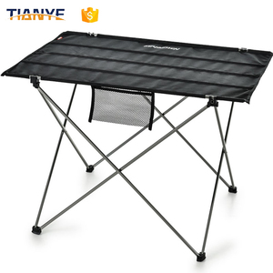 Factory Wholesale Lightweight Fabric Portable Folding Camping Table With Metal Leg