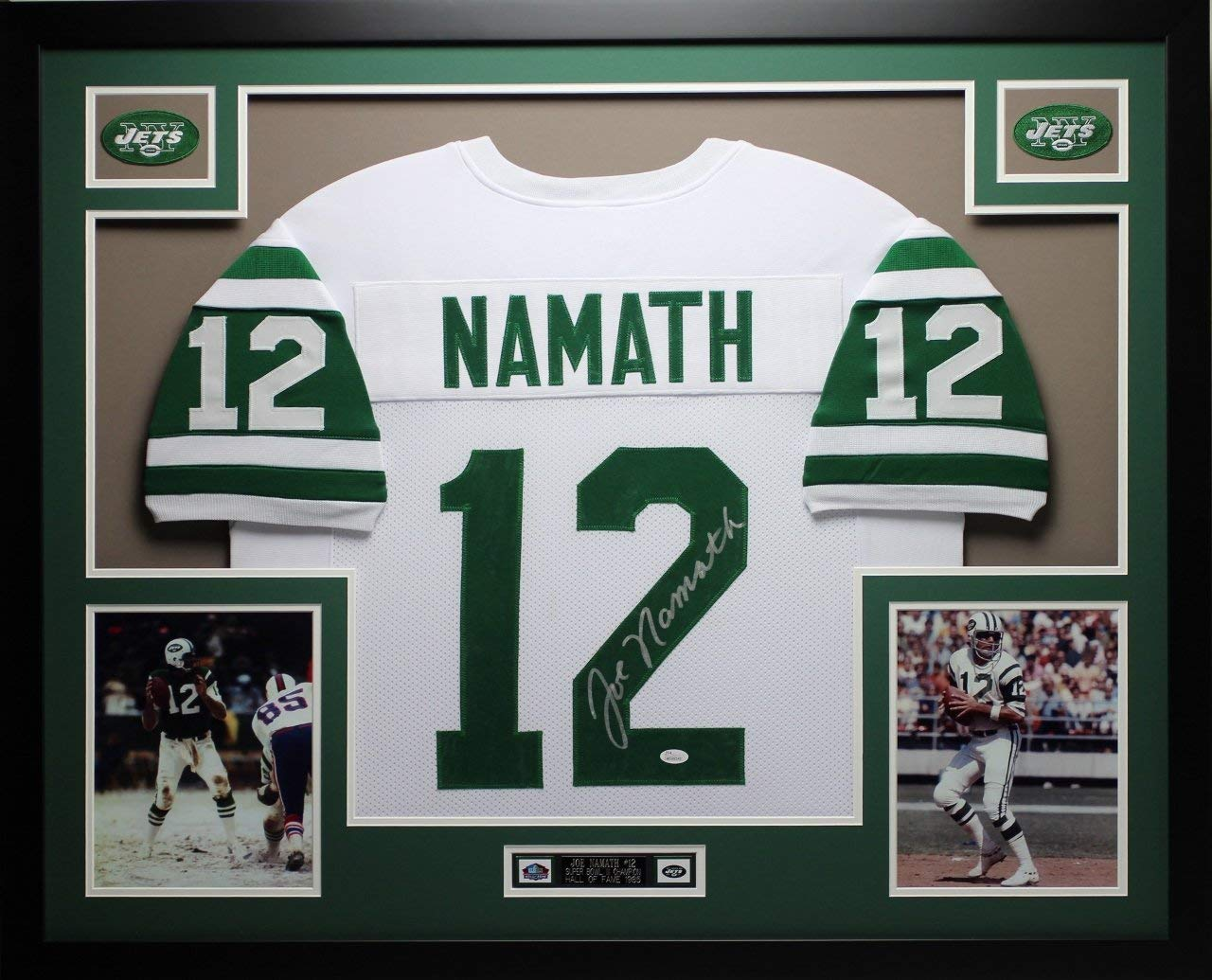 Get Quotations · Joe Namath Autographed White Jets Jersey - Beautifully  Matted and Framed - Hand Signed By Joe c9491ab16