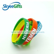 Personalized Elegant printing multi color silicone rubber wrist band with regional feature