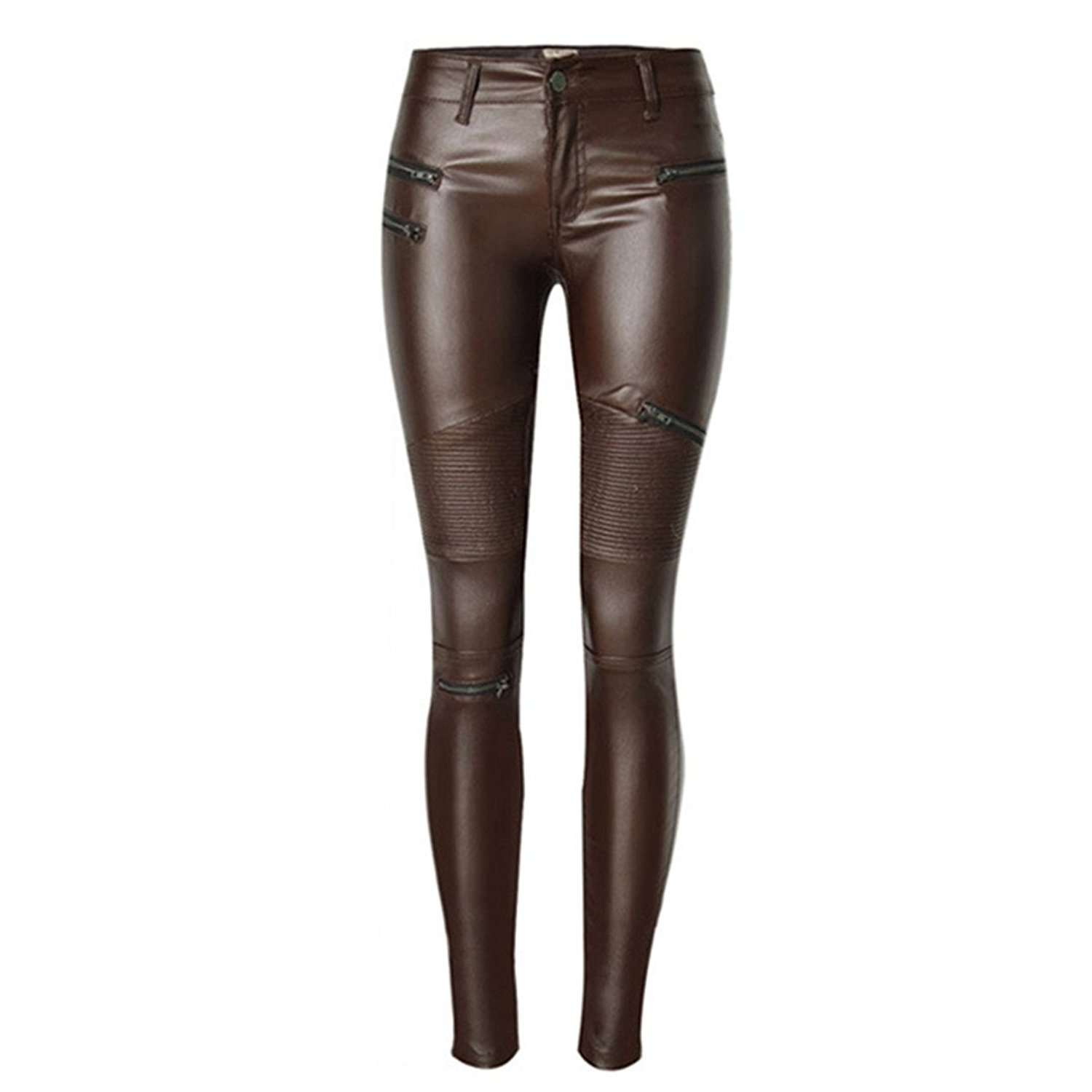 3a0770dfdf47 Get Quotations · Leat Women  S Sexy PU Leather Pants Brown Zipper  Motorcycle PU Women  S Pencil