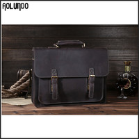 Hot selling wholesale briefcase mens genuine leather vintage laptop bag