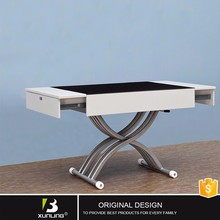 Gloss Tempered Glass Extendable Coffee Table To Dining Table