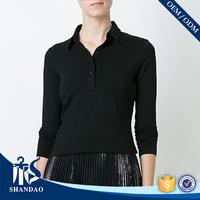 Ladies Wholesale Clothing Market Fashion Casual 220g 100% cotton long sleeeve microfiber polo shirt
