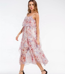 A4209 China Supplier Summer Style Women Dress Spaghetti Strap Beach Chiffon Dress