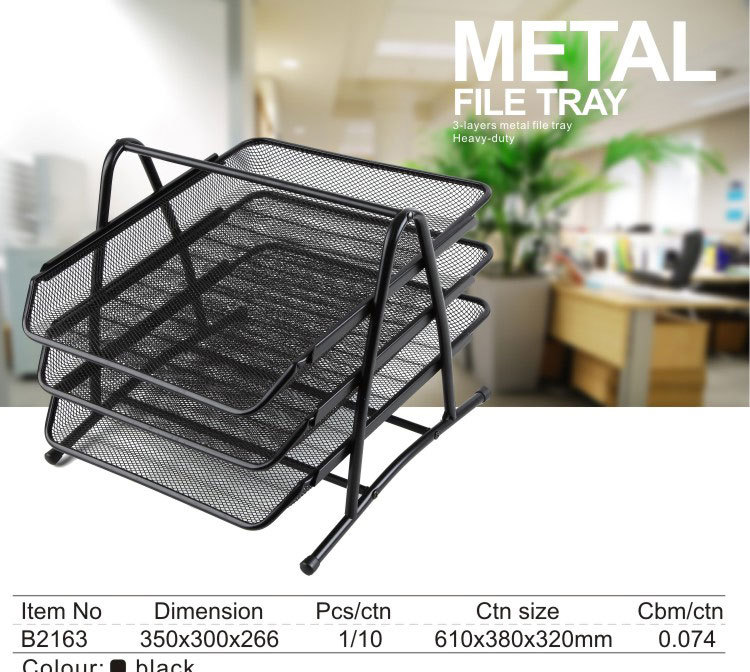highend fashion metal mesh desk organizer file tray desktop file rack document trays