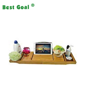 Expandable Bamboo Bathtub Caddy Adjustable Wooden Serving Tray and Organizer for Any Size Bath Tub