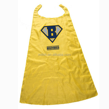 CAPE-0099 Party Halloween adult Custom logo yellow superhero cape/ costumes satin cape for kids
