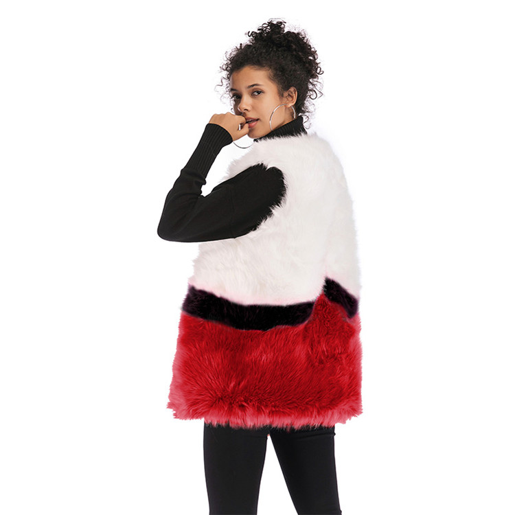 Factory Supplier Spliced Color Elegance V Neck Winter Coat  Women Sleeveless Slim Jacket Faux Fur Vest