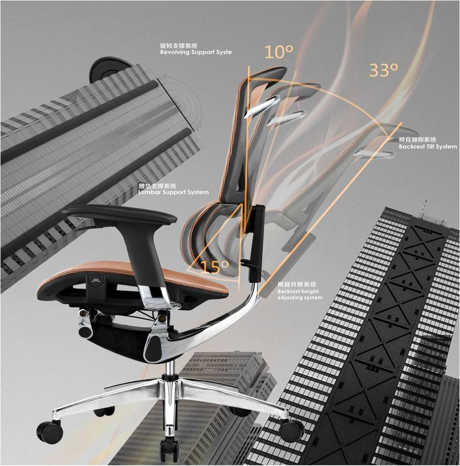 Flexible Automatic Back Office Chair Ergonomic