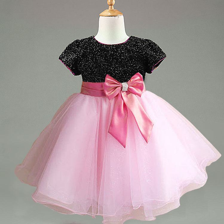 Girls Party Wear Western Dresses With Bow Kids Girls Tutu Dress 90 ...