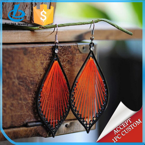 Fashion Jewelry Metal handmade silk thread earrings