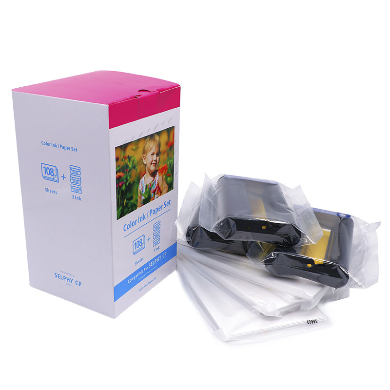 대 한 Canon Selphy CP1200 KP-108IN Ink Cartridge & 4x6 Photo 종이