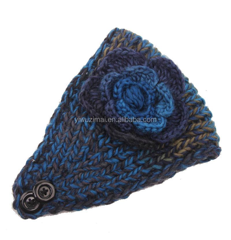 Gray Women Knit Crochet Flower Ear Warmer Headwrap Charm Elastic ...