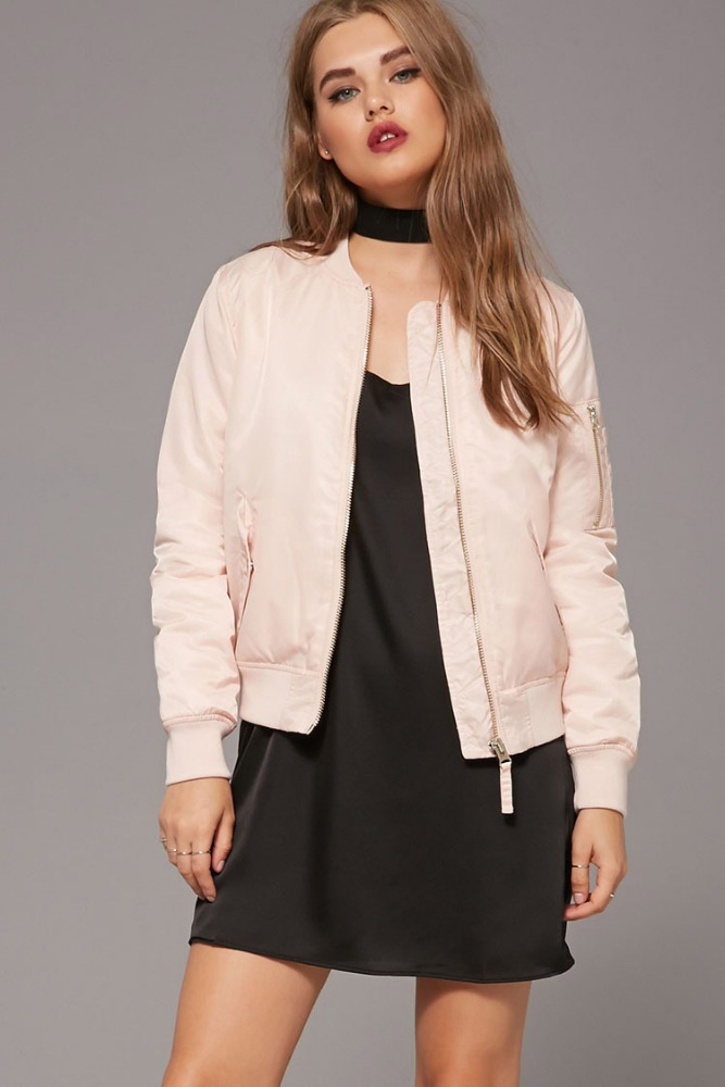 2017 New design OEM service cheap spring popular polyester thread collar zip up pocket long sleeve short body pink women jacket