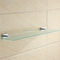 hot sale Gold Plated Bathroom Zinc Alloy Wall Mounted glass shelves For Bathroom Decor