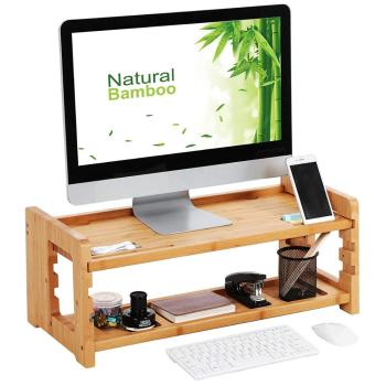 Bamboo Height Adjustable Monitor Stand, Desktop Organizer, Computer Laptop Riser with Accessories Storage Shelf
