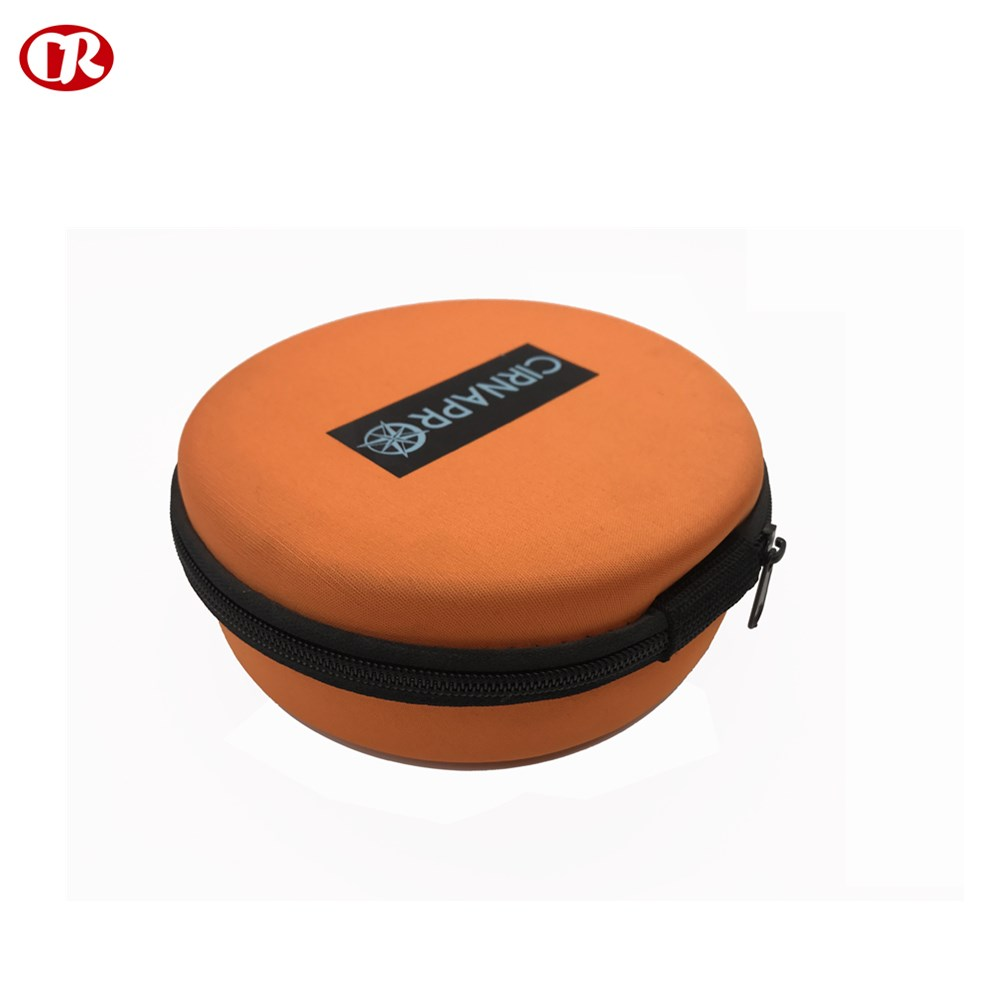 Round shape custom orange color simple carrying bulk cosmetic bags