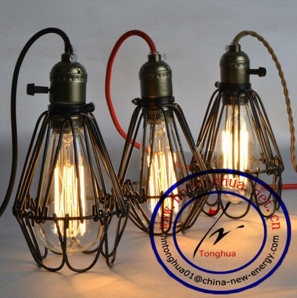 Loft Vintage Style Edison Iron Cage Vintage Pendant Lamp Shade ...