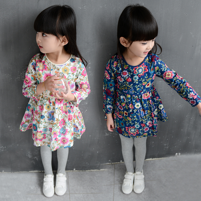 2016 Autumn New Products Kid Girls Summer Party Long Sleeve Flower Dresses