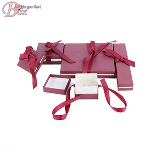 Wholesale ribbon bowknot Box Jewelry Luxury Custom Printed Logo Cardboard jewelry box